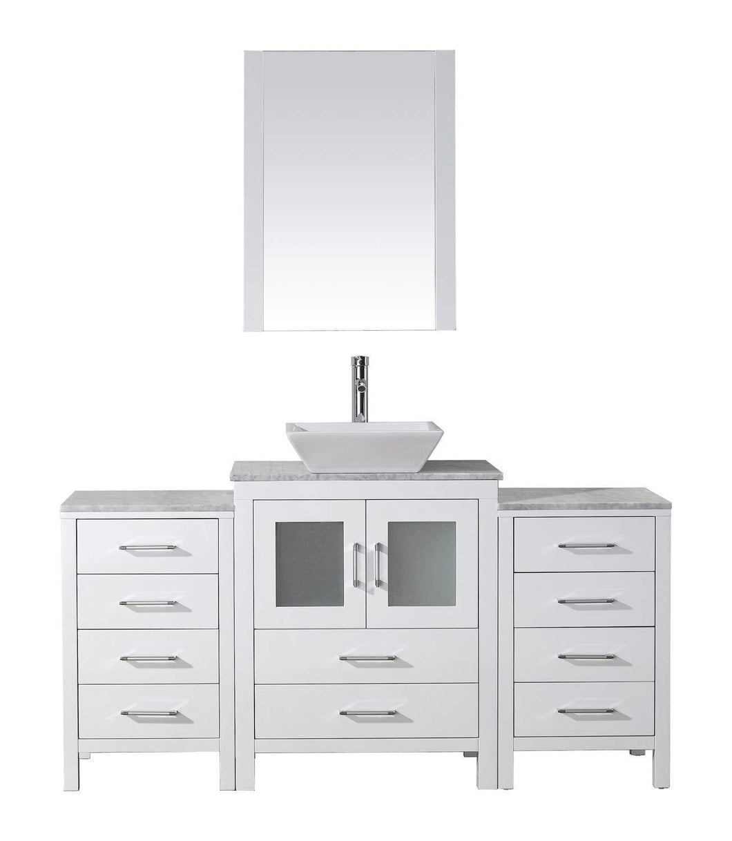 Amazon best virtu usa dior 60 inch single sink bathroom vanity set in white w square vessel sink italian carrara white marble countertop single hole polished chrome 1 mirror ks 70060 wm wh