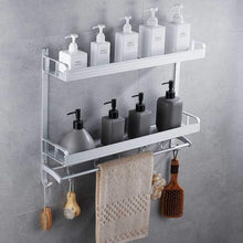 Load image into Gallery viewer, Results 2 layer space aluminum bathroom corner shelf shower caddy shampoo soap cosmetic storage basket kitchen spice rack holder organizer with towel bar and hooks rectangle double