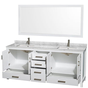 Shop for wyndham collection sheffield 80 inch double bathroom vanity in white white carrera marble countertop undermount square sinks and 70 inch mirror