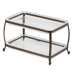 Exclusive interdesign york plastic free standing double vanity tray 2 shelves storage for countertops desks dressers bathroom 10 5 x 6 5 x 6 bronze and clear