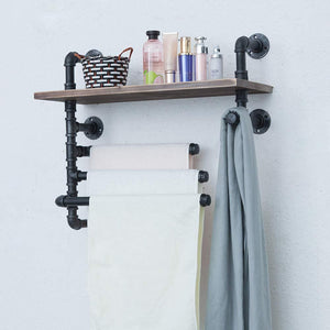 Try industrial towel rack with 3 towel bar 24in rustic bathroom shelves wall mounted farmhouse black pipe shelving wood shelf metal floating shelves towel holder iron distressed shelf over toilet