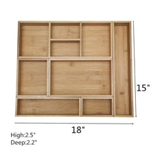 Load image into Gallery viewer, Shop for xxl set of 6 bamboo drawer storage box desk organizer 9 compartment organization tray holder 100 bamboo drawer divider 18 x 15 x 2 5 for office bathroom bedroom kitchen children room