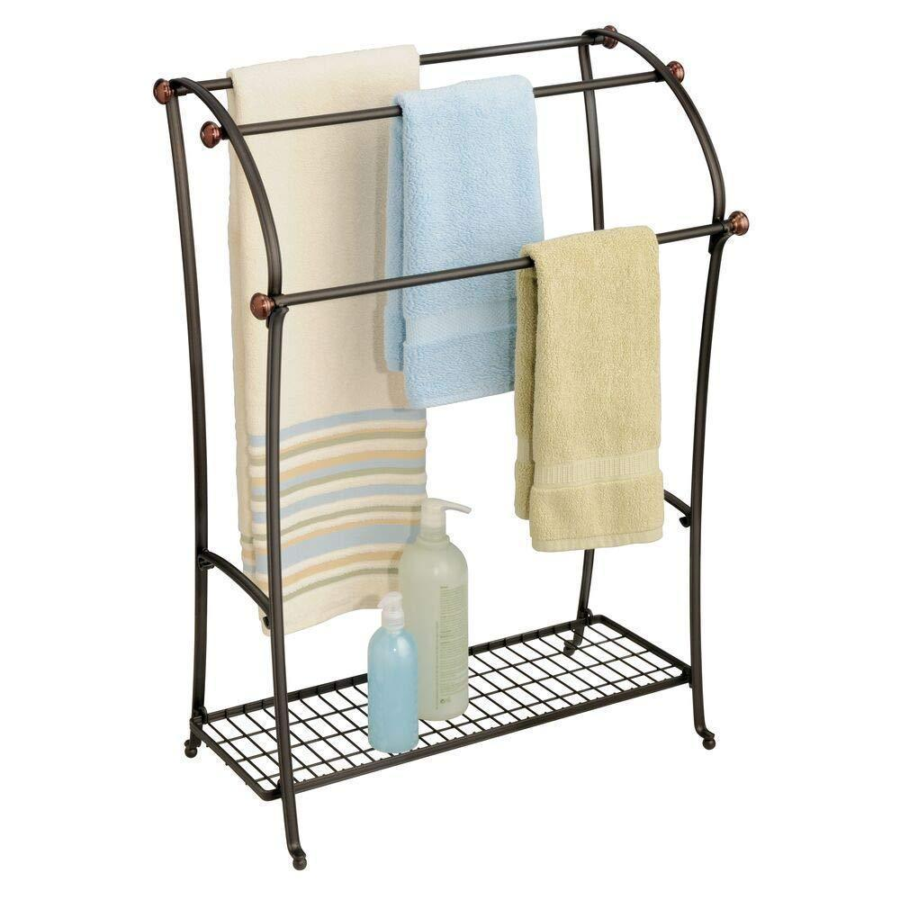 Amazon mdesign large freestanding towel rack holder with storage shelf 3 tier metal organizer for bath hand towels washcloths bathroom accessories bronze warm brown