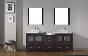 Organize with virtu usa dior 82 inch double sink bathroom vanity set in espresso w square vessel sink white engineered stone countertop single hole polished chrome 2 mirrors kd 70082 s es