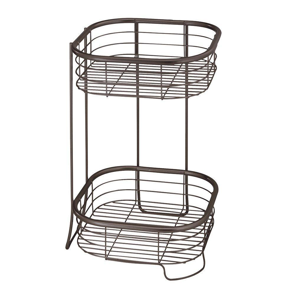 Storage idesign forma metal wire free standing 2 tier shelves vanity caddy baskets for bathroom countertops desks dressers 9 5 x 9 5 x 15 25 bronze