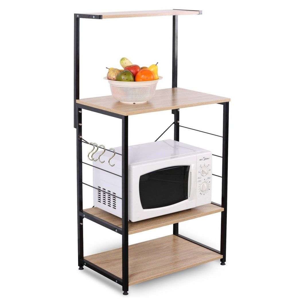 Home woltu 4 tiers shelf kitchen storage display rack wooden and metal standing shelving unit for home bathroom use with 4 hooks
