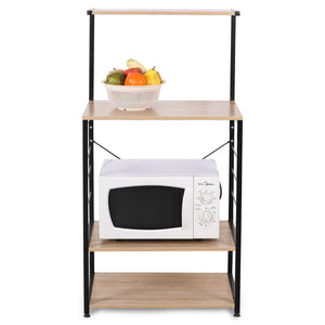 Order now woltu 4 tiers shelf kitchen storage display rack wooden and metal standing shelving unit for home bathroom use with 4 hooks