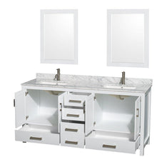 Load image into Gallery viewer, Organize with wyndham collection sheffield 72 inch double bathroom vanity in white white carrera marble countertop undermount square sinks and 24 inch mirrors