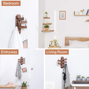 Buy now solid wood swivel coat hooks folding swing arm 5 hat hanger rail multi foldable arms towel clothes hanger for bathroom entryway bedroom office kitchen kids garage wall mount accessories walnut wood