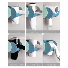 Load image into Gallery viewer, Discover the boomjoy hair dryer holder wall mount hair styling tolls organizer blower dryer holder no drilling bathroom storage blue