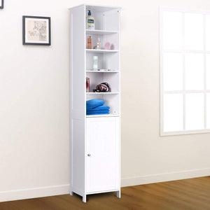 Kitchen 72 tall cabinet waterjoy standing tall storage cabinet wooden white bathroom cupboard with door and 5 adjustable shelves elegant and space saving