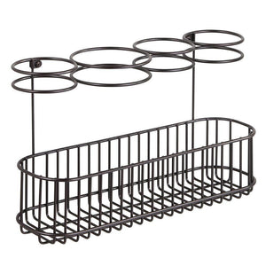 Kitchen mdesign metal wire cabinet wall mount hair care styling tool organizer bathroom storage basket for hair dryer flat iron curling wand hair straightener brushes holds hot tools bronze
