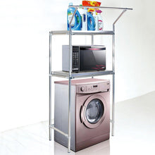 Load image into Gallery viewer, Amazon wenzhe over toilet bathroom shelf rack washroom shower corner washing machine storage with hanging bar stainless steel 3 sizes storage organizer color 8040170cm