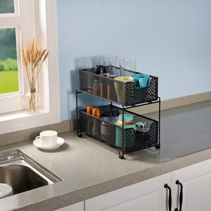 Online shopping 2 tier organizer baskets with mesh sliding drawers ideal cabinet countertop pantry under the sink and desktop organizer for bathroom kitchen office