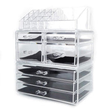 Load image into Gallery viewer, Featured offeir us stock clear acrylic stackable cosmetic makeup storage cube organizer jewelry storage drawers case great for bathroom dresser vanity and countertop 3 pieces set 4 small 3 large drawers