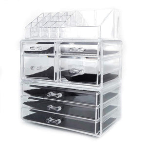 Featured offeir us stock clear acrylic stackable cosmetic makeup storage cube organizer jewelry storage drawers case great for bathroom dresser vanity and countertop 3 pieces set 4 small 3 large drawers