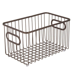 Great mdesign metal bathroom storage organizer basket bin modern wire grid design for organization in cabinets shelves closets vanity countertops bedrooms under sinks 4 pack bronze