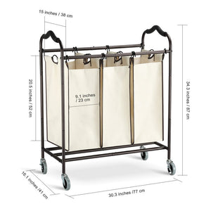 Heavy duty bbshoping organizer laundry hamper cart dirty clothes organibbshoping zer for bathroom bedroom utility room powder coated beige