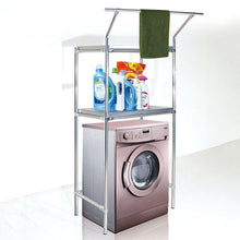 Load image into Gallery viewer, Amazon best wenzhe over toilet bathroom shelf rack washroom shower corner washing machine storage with hanging bar stainless steel 3 sizes storage organizer color 8040170cm