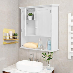 On amazon gentleshower bathroom wall cabinet wood medicine cabinet multipurpose home kitchen medicine storage organizer with 2 doors and 1 storage shelf white
