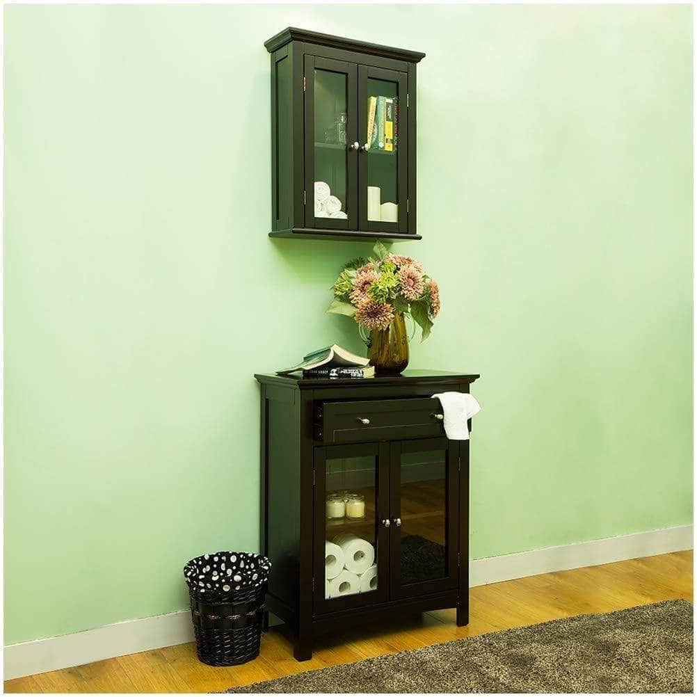 Buy glitzhome wooden furniture wall storage accent cabinet with double glass doors for bathroom bedroom kitchen living room espresso