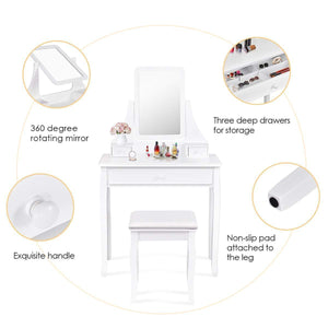 Discover the giantex bathroom vanity dressing table set 360 rotate mirror pine wood legs padded stool dressing table girls make up vanity set w stool rectangle mirror 3 drawers white