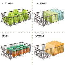 Load image into Gallery viewer, Budget friendly mdesign metal bathroom storage organizer basket bin farmhouse wire grid design for cabinets shelves closets vanity countertops bedrooms under sinks large 4 pack bronze