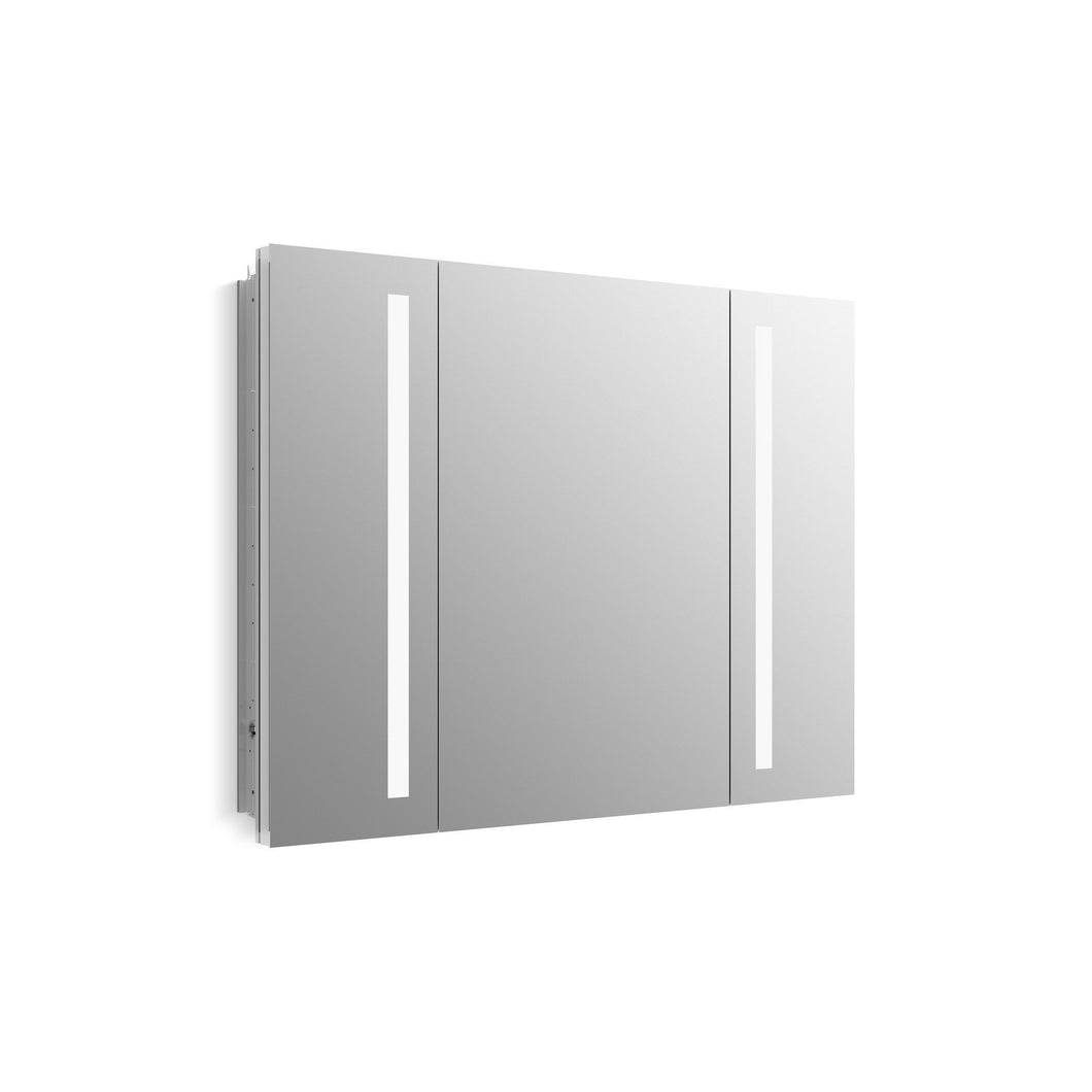 Try kohler k 99011 tl na verdera 40 inch x 30 inch led lighted bathroom medicine cabinet slow close hinge internal magnifying mirror aluminum recess or surface mount 3 doors