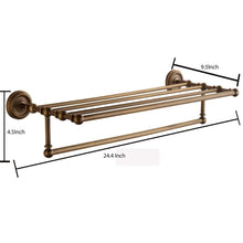 Load image into Gallery viewer, Heavy duty marmolux acc morocc series 3420 ab 24 inch towel shelf with bar storage holder for bathroom antique brass brushed bronze
