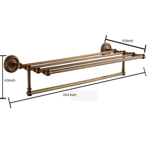 Heavy duty marmolux acc morocc series 3420 ab 24 inch towel shelf with bar storage holder for bathroom antique brass brushed bronze