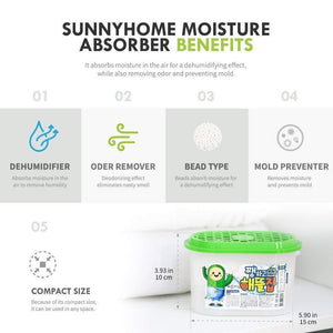 Try sunny home moisture absorber for home odor eliminator dehumidifier and deodorizer for closet bathroom kitchen and more 16 pk