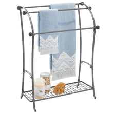Load image into Gallery viewer, Order now mdesign large freestanding towel rack holder with storage shelf 3 tier metal organizer for bath hand towels washcloths bathroom accessories graphite gray