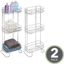 Load image into Gallery viewer, Discover the mdesign rectangular metal bathroom shelf unit free standing vertical storage for organizing and storing hand towels body lotion facial tissues bath salts 3 shelves 2 pack chrome