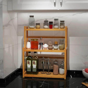Best 3 tier spice rack kitchen bathroom countertop storage organizer rack bamboo spice bottle jars rack holder with adjustable shelf 100 natrual bamboo