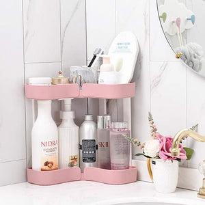 Purchase feoowv 2 tier kitchen countertop corner storage rack bathroom corner shelf space saving organizer for spice jars bottle holder stylec pink