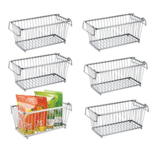 Load image into Gallery viewer, Latest mdesign household stackable metal wire storage organizer bin basket with built in handles for kitchen cabinets pantry closets bedrooms bathrooms 12 5 wide 6 pack silver
