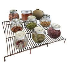 Load image into Gallery viewer, Exclusive 3 tier spice rack step shelf cabinet countertop kitchen organizer expandable stackable pantry bathroom multipurpose storage rack holder non skid 2 pack