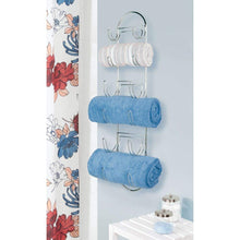 Load image into Gallery viewer, Featured mdesign wall mount metal wire towel storage shelf organizer rack holder with 6 compartments shelves for bathroom towels 2 pack chrome