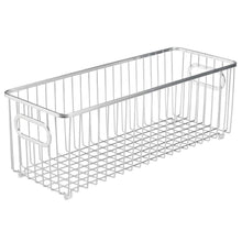 Load image into Gallery viewer, Heavy duty mdesign deep metal bathroom storage organizer basket bin farmhouse wire grid design for cabinets shelves closets vanity countertops bedrooms under sinks 4 pack chrome