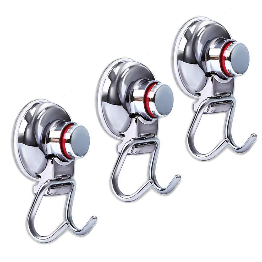 Latest suction cup hooks heavy duty vacuum hook wall suction hooks for flat smooth wall bathroom kitchen towel robe loofah stainless steel chrome pack of 3