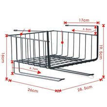 Load image into Gallery viewer, On amazon aiyoo heavy duty under shelf basket with paper towel holder for pantry cabinet closet wire rack storage basket wardrobe office desk space save bathroom kitchen organizer baskets for extra storage