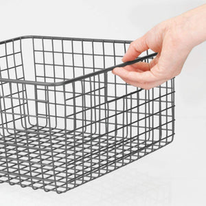 Amazon best mdesign farmhouse decor metal wire food storage organizer bin basket with handles for kitchen cabinets pantry bathroom laundry room closets garage 12 x 12 x 6 4 pack graphite gray