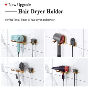 Storage organizer xigoo adhesive hair dryer holder wall mount bathroom hair blow dryer rack organizer stick on wall fit for most hair dryers upgrade gold