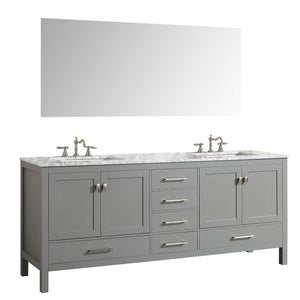 Select nice eviva evvn412 72gr aberdeen 72 transitional grey bathroom vanity with white carrera countertop double square sinks combination