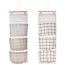 Load image into Gallery viewer, Budget friendly gaiatop hanging storage 2 packs linen cotton fabric wall door closet hanging organizer bags with 3 pockets for living room bedroom bathroom white grey