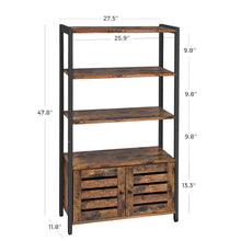 Load image into Gallery viewer, Buy now vasagle industrial storage cabinet bookshelf bookcse bathroom floor cabinet with 3 shelves and 2 shutter doors in living room study bedroom multifunctional rustic brown ulsc75bx