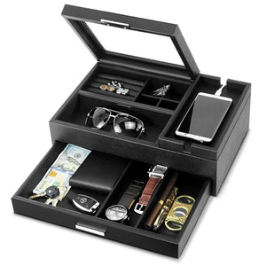 Lifomenz Co Mens Jewelry Box Valet Tray with Drawer and Charging Station Organizer,Nightstand Organizer for Men Jewelry Tray,Catchall Tray for Men Accessories Organizer
