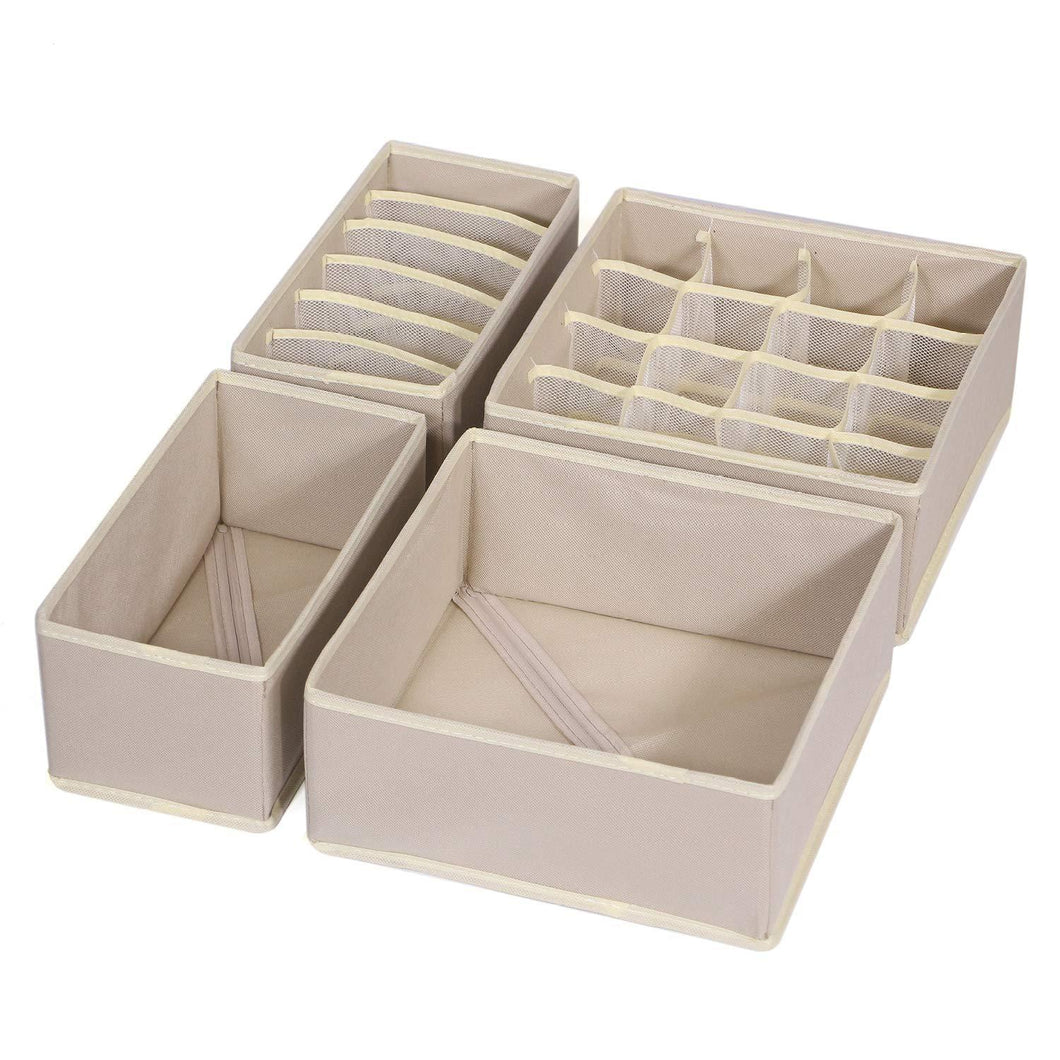 TENABORT Foldable Drawer Organizer Dividers Cloth Storage Box Closet Dresser Organizer Cube Fabric Containers Basket Bins for Underwear Bras Socks Panties Lingeries Nursery Baby Clothes Beige 4 Pack