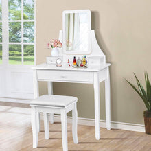 Load image into Gallery viewer, Explore giantex bathroom vanity dressing table set 360 rotate mirror pine wood legs padded stool dressing table girls make up vanity set w stool rectangle mirror 3 drawers white
