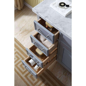 Select nice ariel d043s r gry kensington 43 inch right offset single sink bathroom vanity set in grey with carrara marble countertop